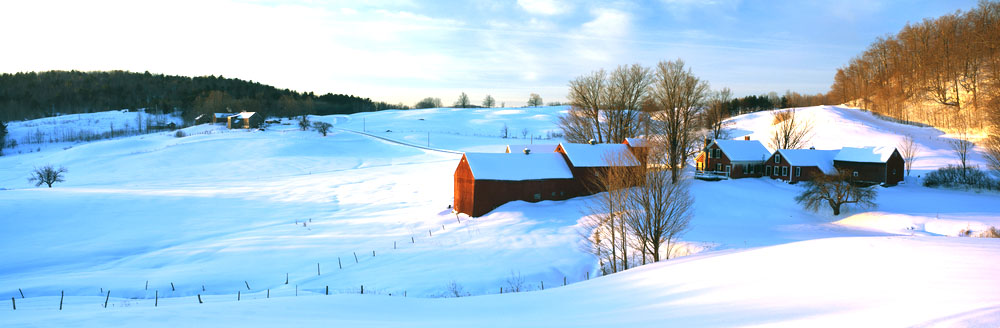 snow covered farm in Vermont