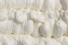 close up of spray foam insulation