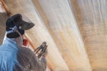 spray foam barrier on roof interior