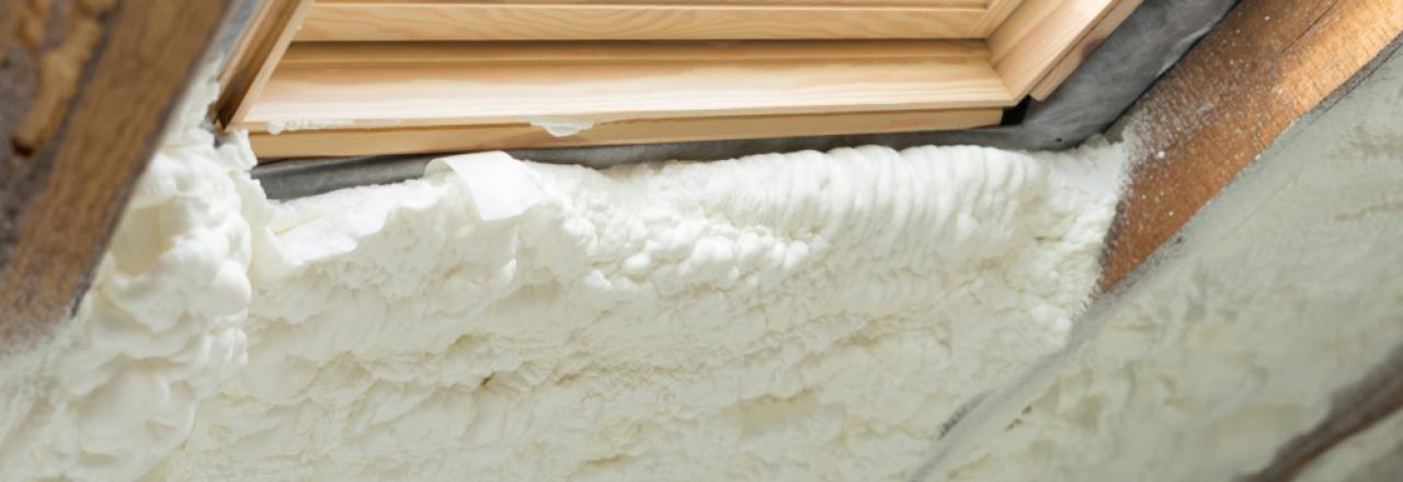 spray foam insulation in attic around skylight window