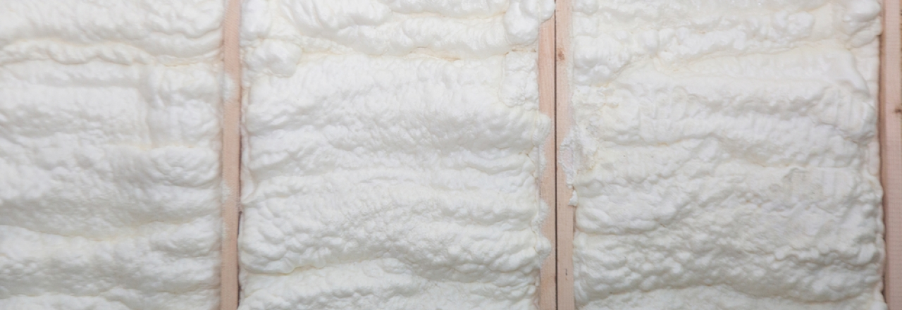 foam insulation in unfinished wall between studs