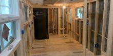 spray foam tiny house lower level