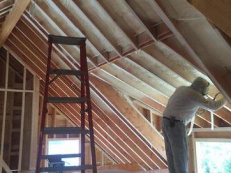 Spray Foam applied to attic slopes