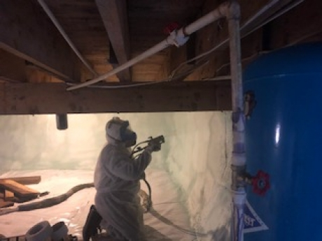 Application of HFO on Crawlspace Walls, Peru, Vermont