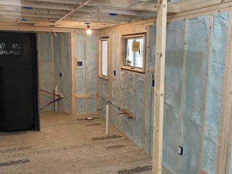 tiny house spray foam interior lower leverr